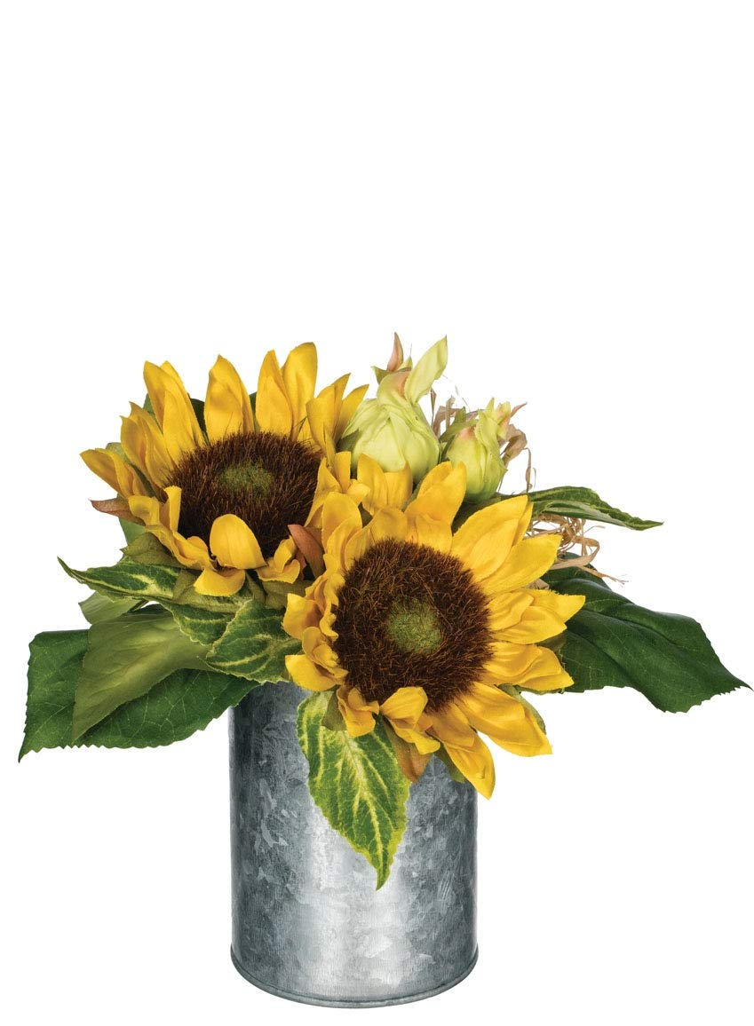 Artificial Potted Sunflowers in Galvanized Metal Can, 9″