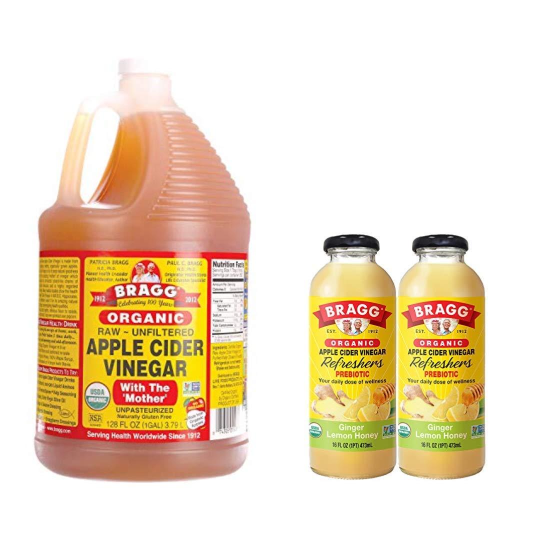 Bragg Organic Apple Cider Vinegar With the Mother 128 ounce and Bragg Organic Ginger Lemon Honey Vinegar Drink 16 Oz Pack of 2 Bundle