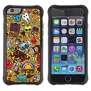 Hybrid Anti-Shock Defend Case for Apple iPhone 6 4.7 Inch / Cool 420 Graffiti Pattern