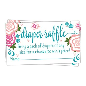 from Bliss Paper Boutique Diaper Raffle Tickets for Baby Shower Pink Flower Design 50 Pack Boho Floral Game Insert Girl