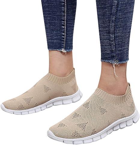 Zapatos Deportivos Casual Zapatillas de Running para Mujer Transpirable Sports Zapatillas para Athletic Sports Sneakers Calcetines Zapatos PlanosCaquiEU35: Amazon.es: Bebé