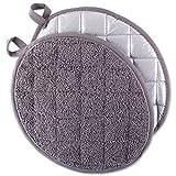 DII CAMZ38717 Everyday Kitchen Basic Oval Terry Pot Holder (Set of 2), 9.5 x 7.5, Gray