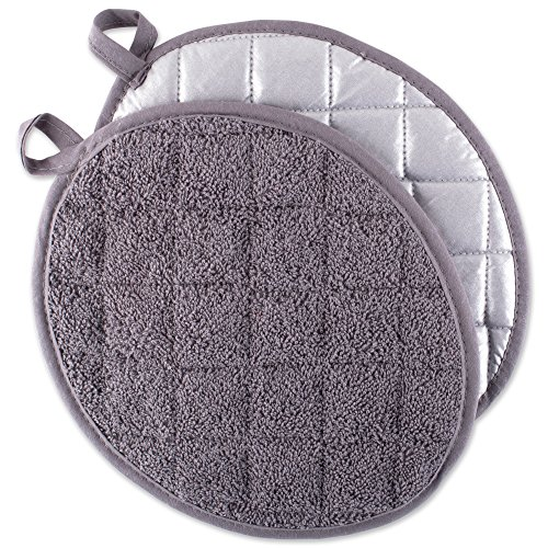 DII Everyday Kitchen Basic Oval Terry Pot Holder (Set of 2), 9.5 x 7.5, Gray ()