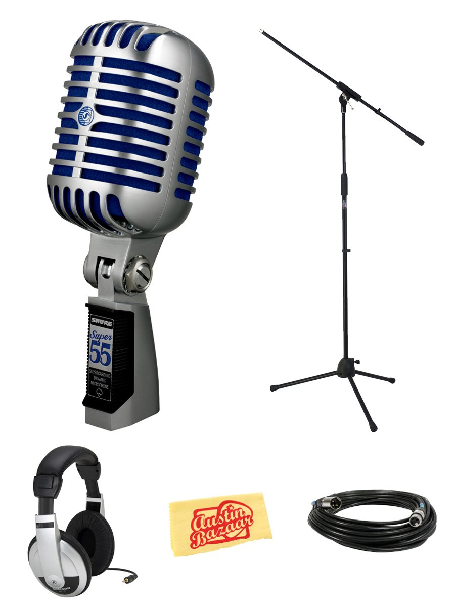 Shure Super 55 Deluxe Vocal Microphone Bundle with Boom Stand, Headphones, XLR Cable, and Austin Bazaar Polishing Cloth by Shure