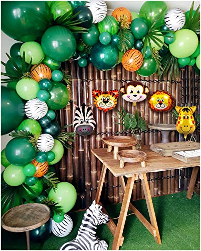 Jungle Baby Shower Party Supplies (2019 Upgrade Jungle Safari Theme Party Supplies, 102 PCS Balloon Garland Kit, Favors for Kids Boys Birthday Baby Shower Decor, Balloons for Parties, Party Birthday Balloons)