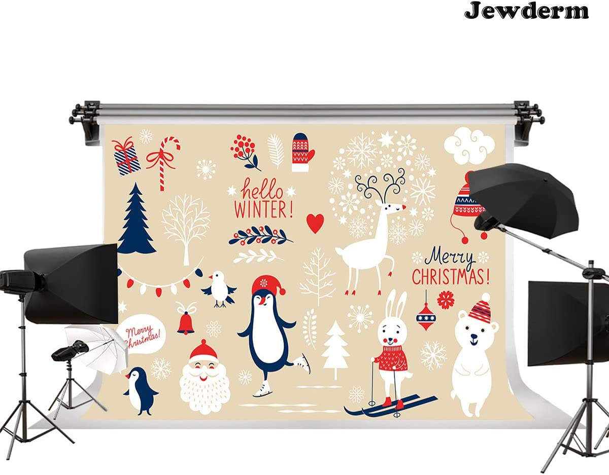 Jewderm 9x6ft Hello Winter Photography Backdrop Merry Christmas Background for Party Cake Table Wall Decoration Photographic Cloth Curtain Studio Props Photo Booth