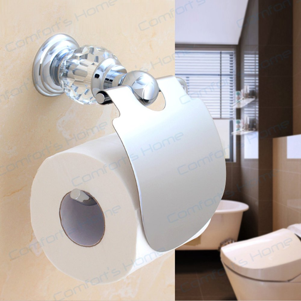 Comfort's Home TP4036C Toilet Paper Holders, Crystal Style Bathroom Accessories Wall Mount Toilet Tissue Holder, Chrome by Home Comforts (Image #5)
