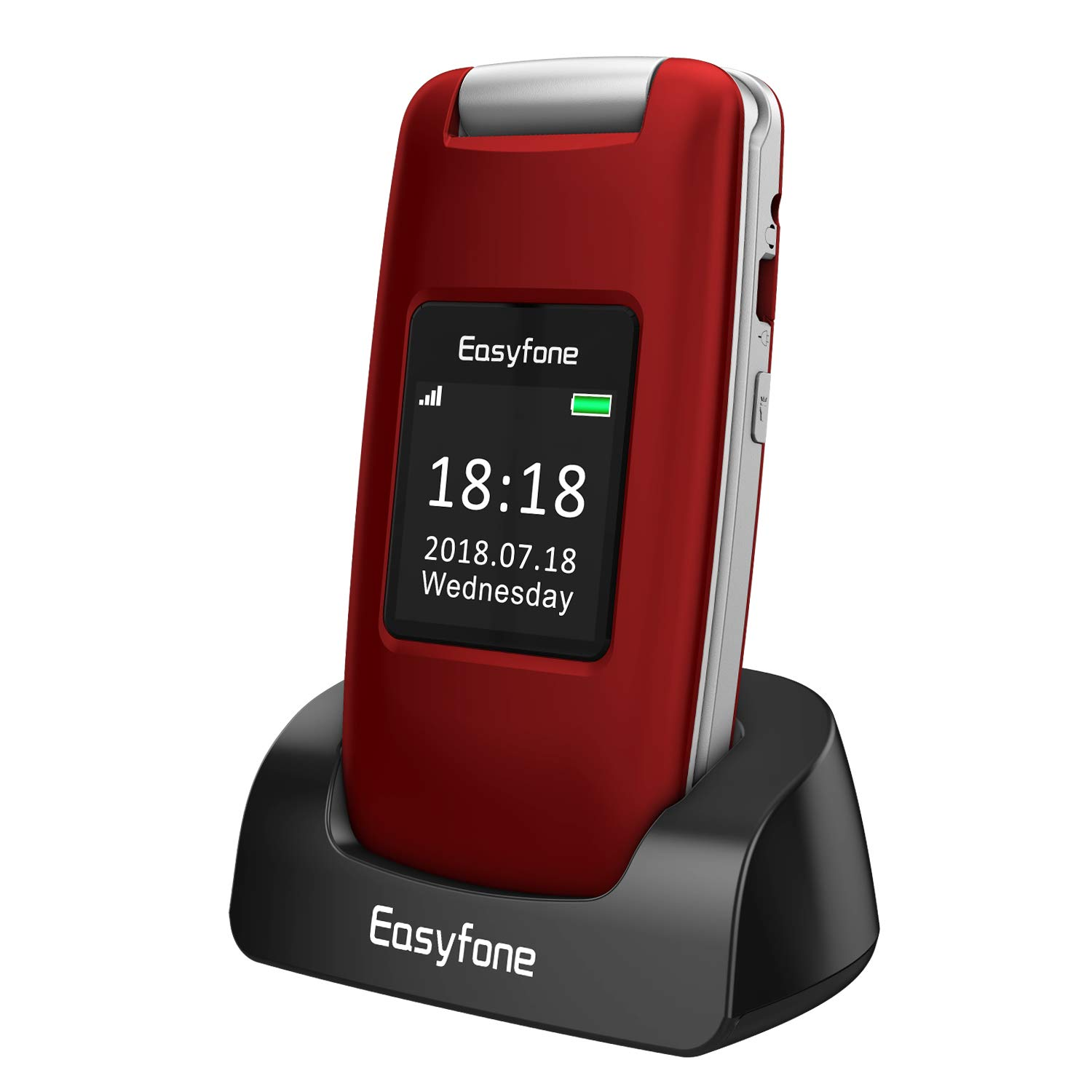 Easyfone Prime A1 3G Unlocked Senior Flip Cell Phone, Big Button Hearing Aids Compatible Easy-to-Use Basic Cell Phone with Charging Dock(Red) by Easyfone