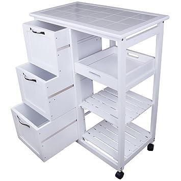 anaterra carrello in legno per cucina con cassetti colore bianco