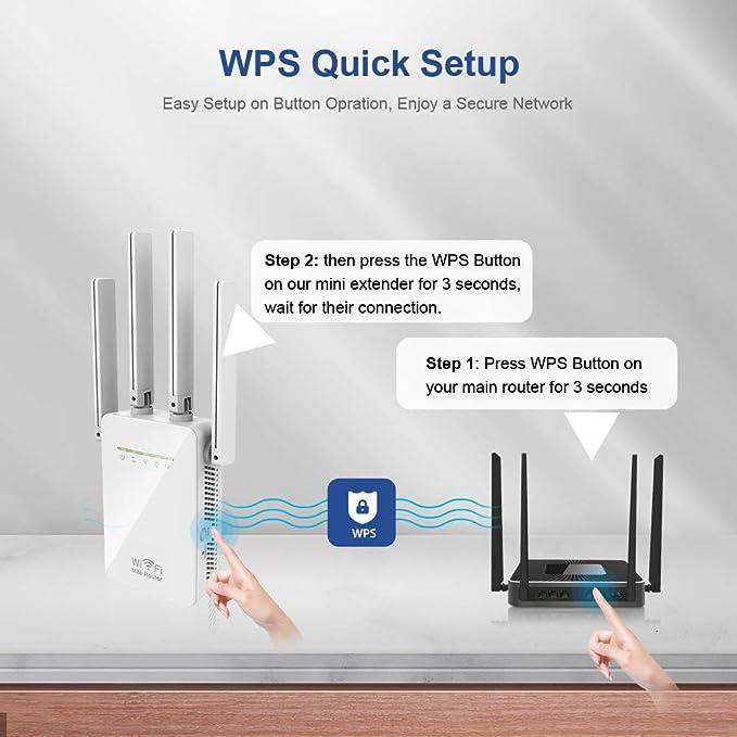 Amplificador Señal WiFi, 300Mbps/2.4 GHz Repetidores WiFi Amplificador Extensor de WiFi con Largo Alcance Modo Punto de ...