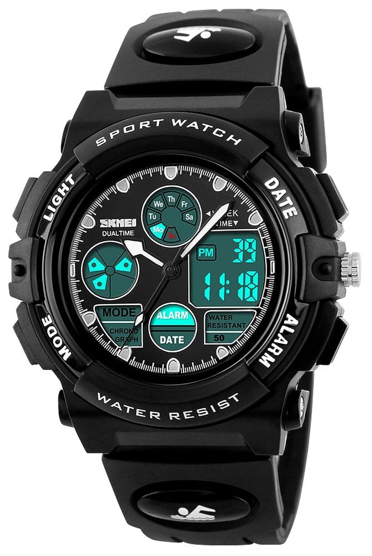 男の子女の子スポーツデジタルアナログWatch Kidsアウトドア防水ストップウォッチLED電子Wrist Watches Men's standard ブラック B076NXMDCKブラック