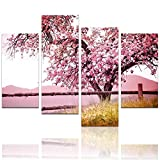 "LevvArts - Plum Tree Blossom Art,Spring Flowers Canvas Print for Home Wall Decor,Framed,4 Panels Cherry Blossom Wall Art, 48"" W x 32"" H Overall"