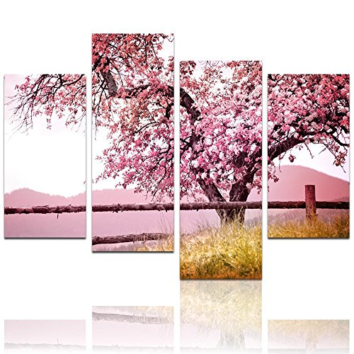 Cherry Pictures Blossom (Live Art - Plum Tree Blossom Art,Spring Flowers Canvas Print for Home Wall Decor,Framed,4 Panels Cherry Blossom Wall Art, - 48