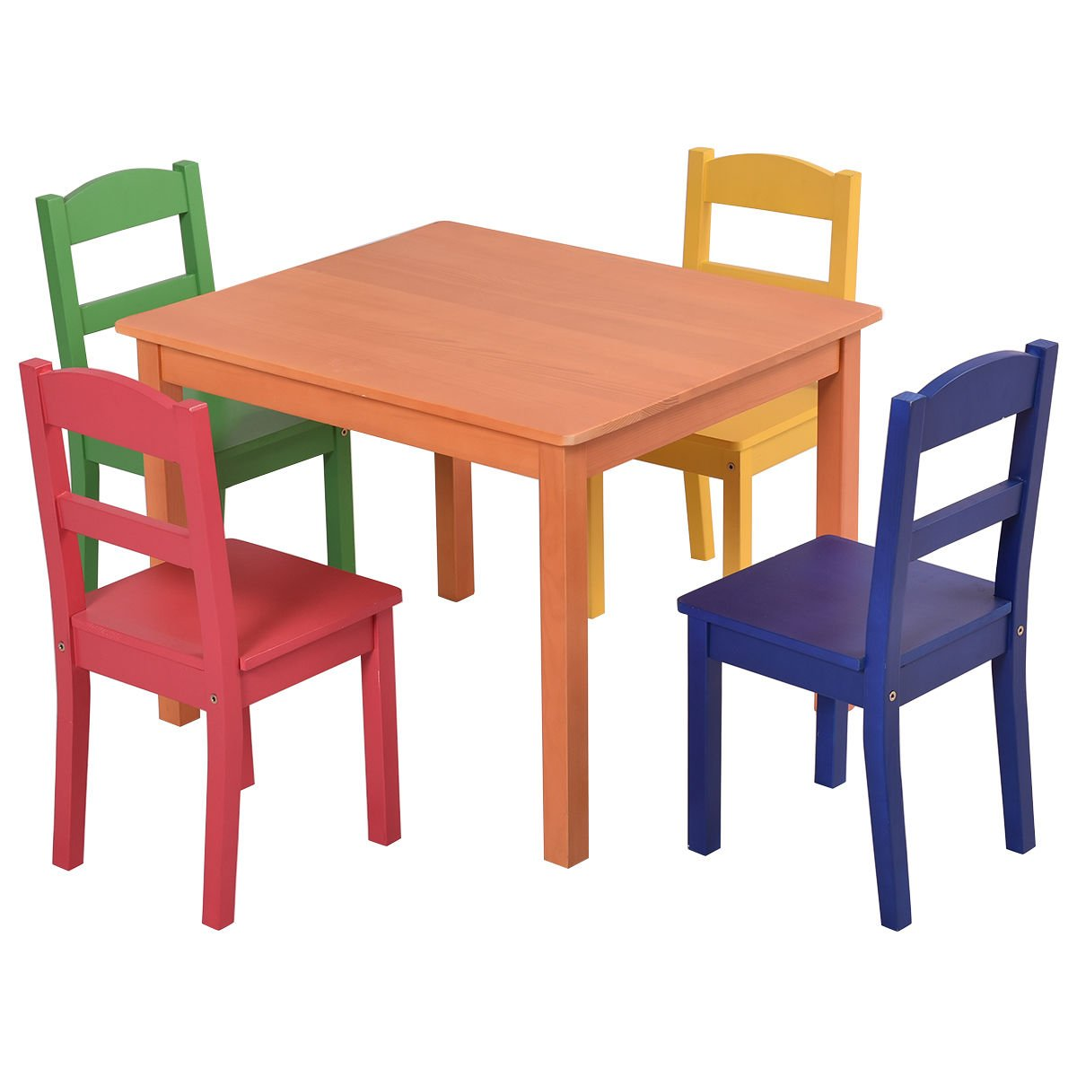 Costzon Kids 5 Piece Table and Chair Set, Made of Pine Wood, Children Multicolor Play Room Furniture