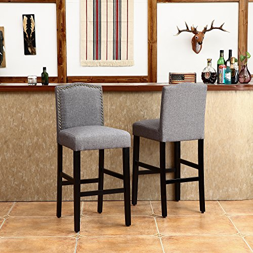 LSSBOUGHT Set of 2 Classic Fabric Barstools Dining High Counter Height Side Chairs (Seat Height: 30