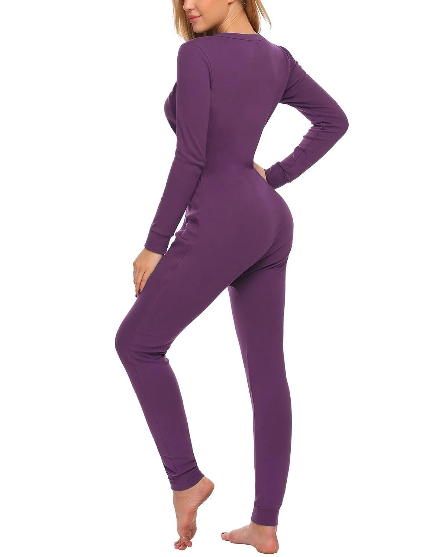 UNibelle Damen Jumpsuit Strampler Onesie Thermo Unterw/äsche Stretch Nachtw/äsche Thermow/äsche mit Rundhalsausschnitt Langarmshirt