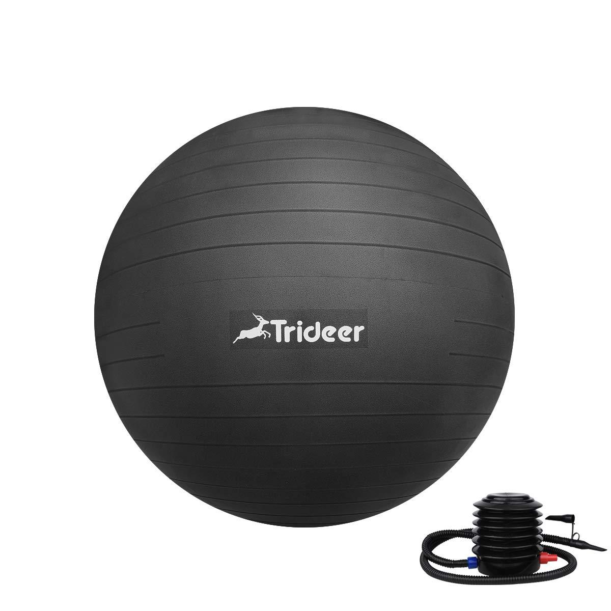 Trideer 45-85cm Exercise Ball, Birthing Ball, Yoga Pilate Fitness Balance Ball Lug Kit, Anti-Slip & Anti-Burst, 2000lbs Extra Thick Core Cross Training Ball (Black, 65cm)