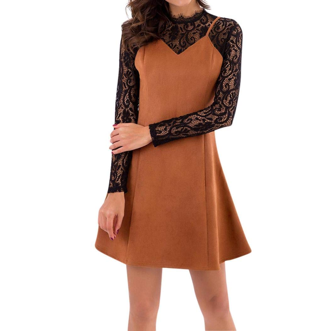 Smallrabbit Casual Dress Winter Long Sleeve Suede Dresses Lace Casual Dresses for Women (M=Bust 33.0-41.7'', Brown)