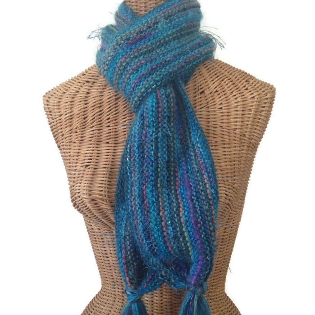 d1a86fffcf550 Amazon.com: Teal Hand Knit Scarf Wool Blend: Handmade