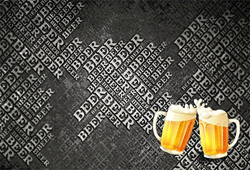 LFEEY 7x5ft Beer Party Backdrop Beerfest Word Cloud Style Happy New Year 2019 Photography Background Photo Booth Studio Props