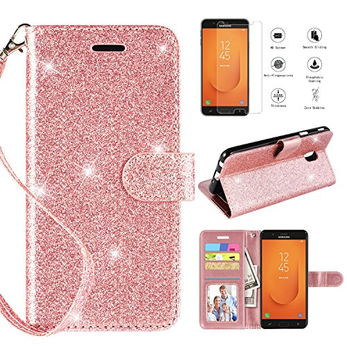 CASEKEY Samsung Galaxy J7 Refine Case,Samsung Galaxy J7 2018 Case,Samsung Galaxy J7V 2018 J7 V 2nd Gen/J7 Star/J7 TOP/ J7 Crown Case w Screen Protector Kickstand Card Slots Flip Wallet Cover,Rosegold