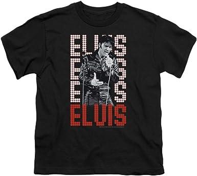 Elvis Presley in Lights The King Rock 1968 Big Boys T-Shirt Tee