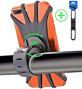 """APzek Bike Phone Mount, 360° Rotation Cell Phone Holder for Bike, Universal Silicone Bicycle Phone Mount for iPhone Xs Max Xs Xr X 8 Plus 8 7 6s Plus, Galaxy S10+ S10 S10e S9 S8, 4.0""""-6.5"""" Phones"""
