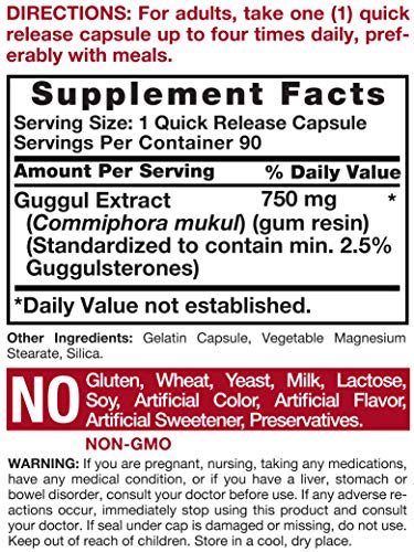 Carlyle Guggul Extract 750 mg Guggulsterone 180 Capsules | Supports Healthy Cholesterol Levels | Non-GMO and Gluten Free Supplement