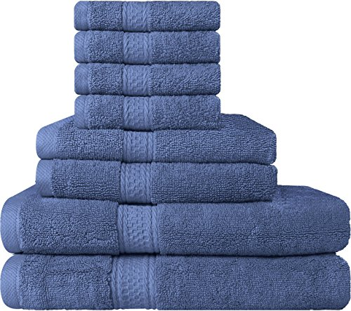 Premium 8 Piece Towel Set (Electric Blue); 2 Bath Towels, 2 Hand Towels and 4 Washcloths - Cotton - Hotel Quality, Super Soft and Highly Absorbent by Utopia Towels
