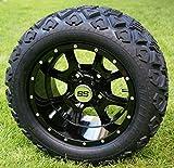 12'' STALKER Gloss Black Golf Cart Wheels and 20x10-12 DOT All Terrain Golf Cart Tires - Set of 4 - NO LIFT REQUIRED (read description)