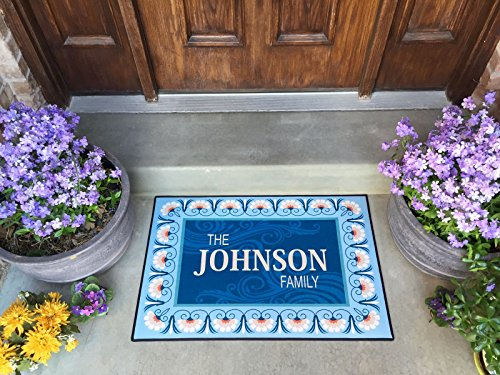 Qualtry Personalized by Last Name Outdoor Doormat Entrance Rugs - Non Slip Front Door Welcome Mats (Large Size, Johnson Design) (Front Door Mat Custom)