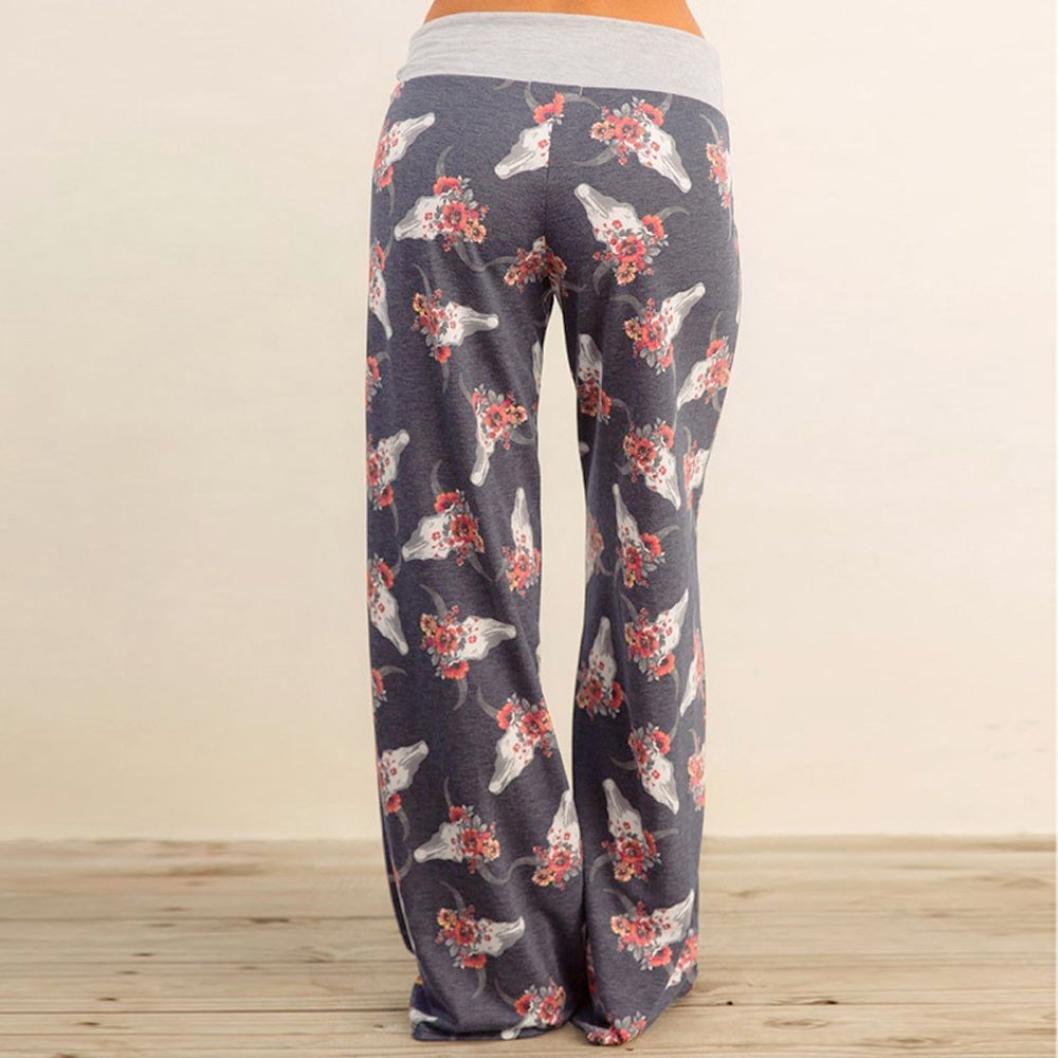 57c98119fefaf Amazon.com: Pants for Womens, FORUU Ladies Summer Printed Drawstring Wide  Leg Pants Leggings: Clothing