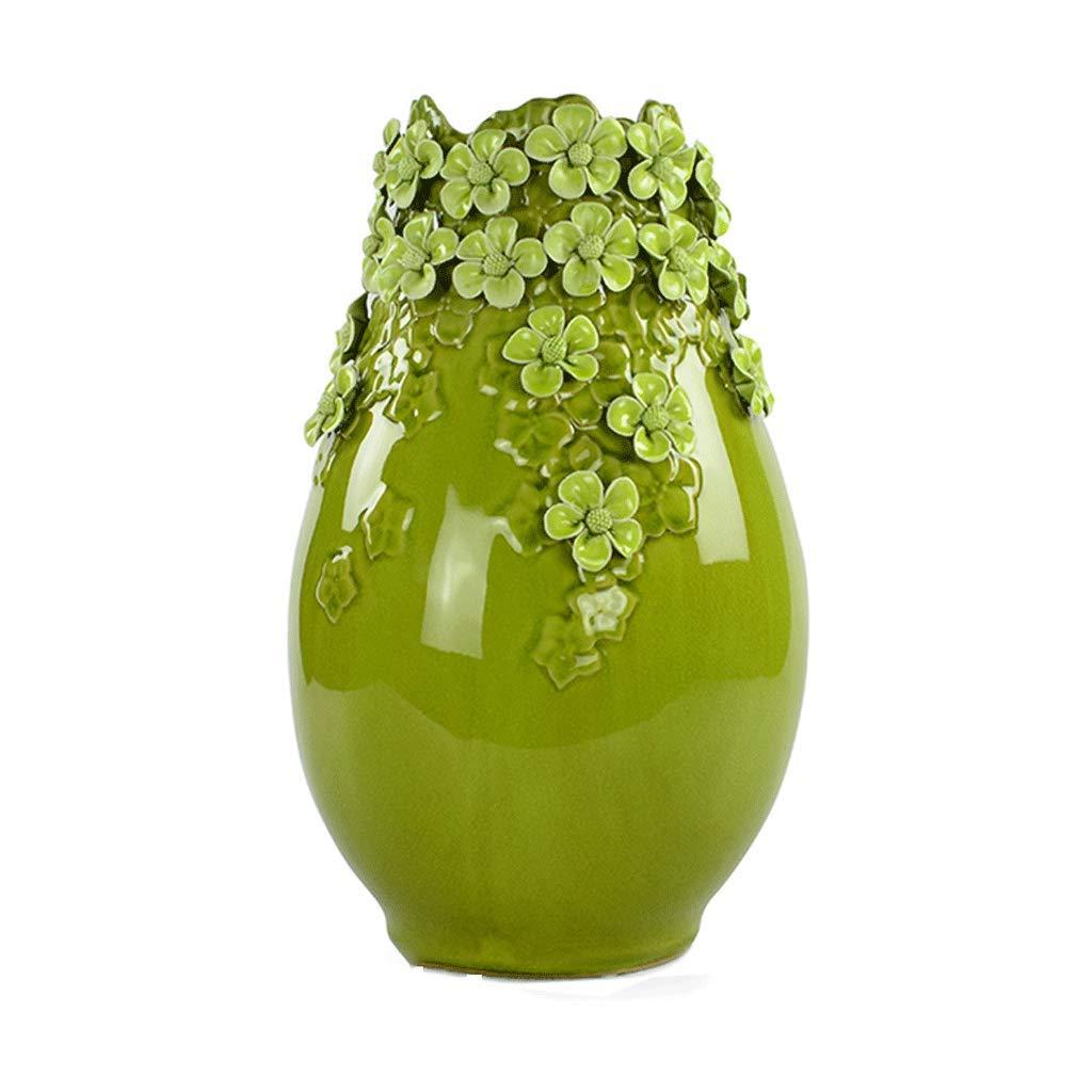 花瓶手作りのセラミック装飾品現代のミニマリストのリビングルームのテレビキャビネットダイニングテーブル家の装飾フラワーアレンジャー LCSHAN (Color : Ceramic-Green, Size : 38cm) B07T5QQZF9 Ceramic-Green 38cm