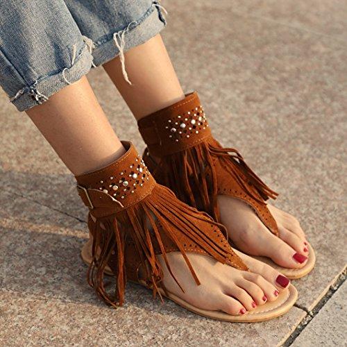 Evedaily Perline Sandali Glitter Donna Nappa Toe Estiva Spiaggia Paillettes Scarpe con Clip Marrone Boemo Pantofole rHrgqn0