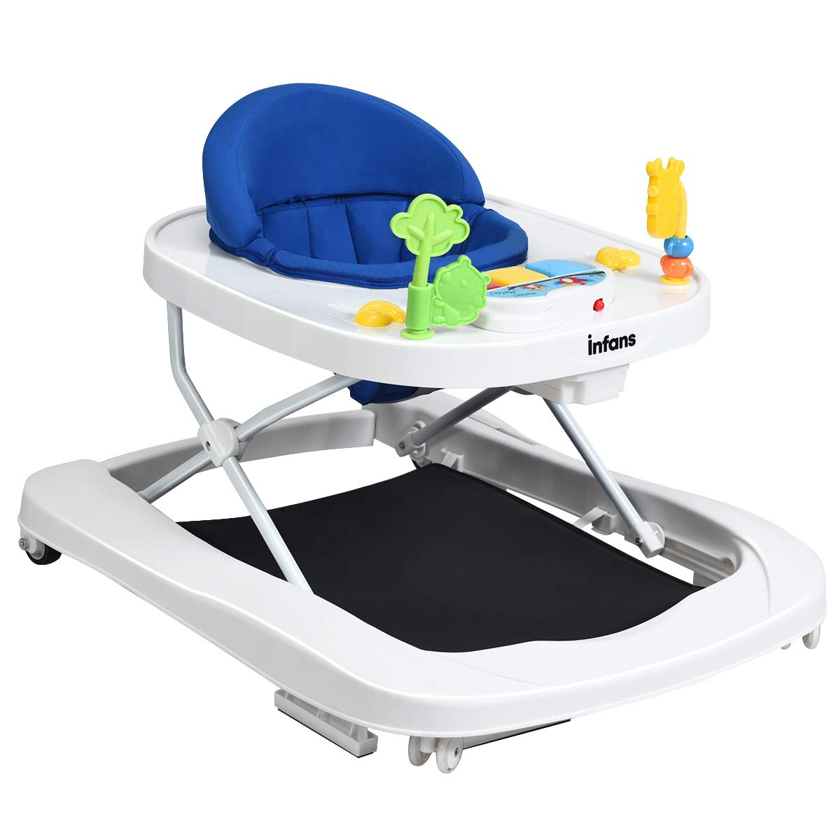 INFANS Foldable Baby Walker, 3 in 1 Toddler Walker Bouncer, Learning-Seated, Walk-Behind, Music, Adjustable Height, High Back Padded Seat, Detachable Trampoline Mat, Activity Walker with Toys, Blue