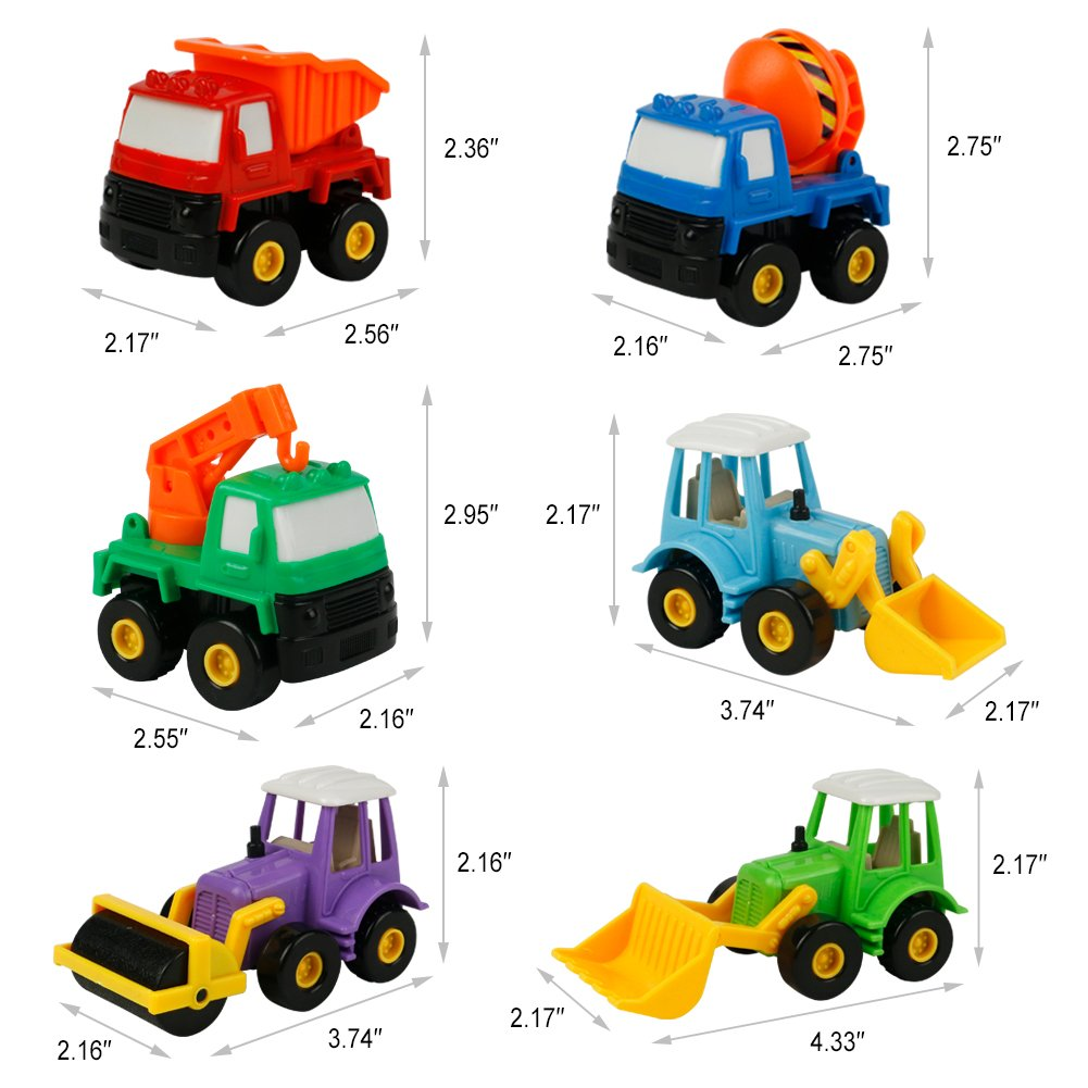 Truck Toy Car Construction Toys Pull Back Vehicles Best Party Supplies Favors Christmas Birthday Gifts for Kids Boys Girls 3 Years and Up, 6pcs(Color Vary)