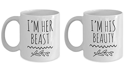 Amazoncom Im His Beauty Im Her Beast Mug Set Couples Mugs His