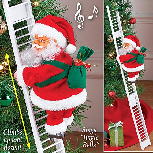 - Howardee 1 Pcs Electric Climbing Ladder Santa Claus Christmas Figurine Ornament Decoration Gifts