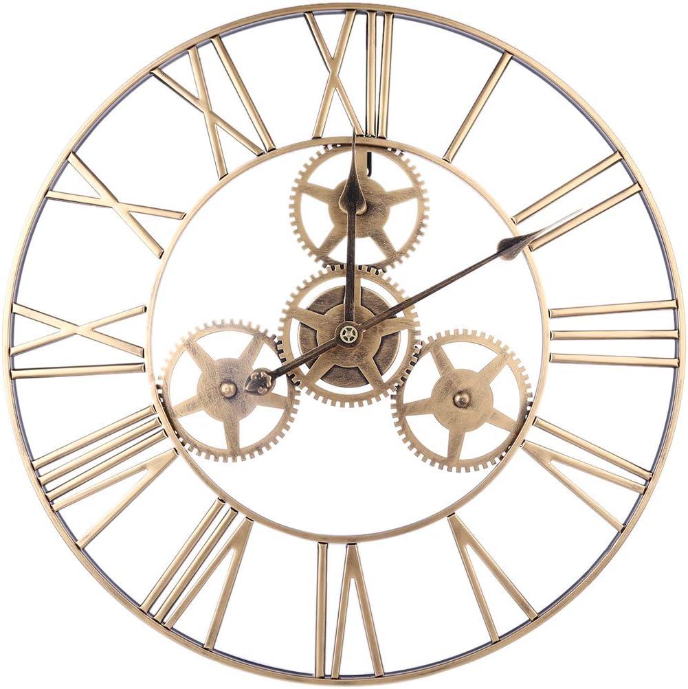 YOU339 Reloj de Pared de silenciamiento de Engranajes Huecos de Hierro Forjado, 24 Pulgadas Reloj de Pared silencioso con número Romano, Reloj Colgante Decoración para el hogar, Retro