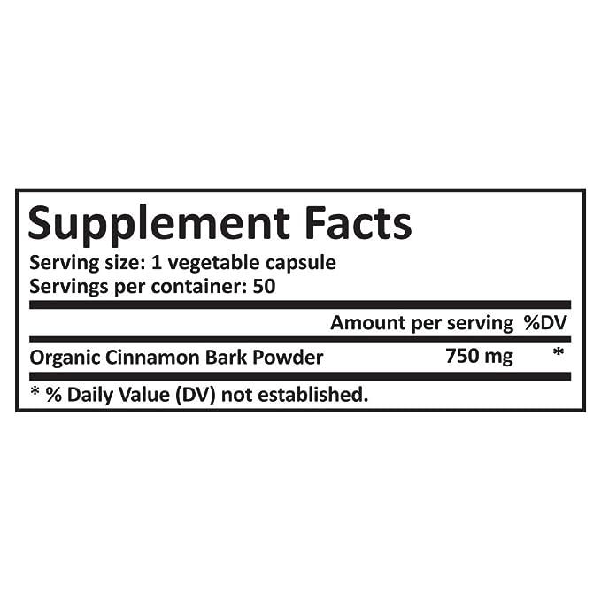 Real Herbs Canela de Ceilán orgánica 750mg - También conocida como canela real - Mayor dosis por cápsula en Amazon - Promueve la salud cardiovascular - 50 ...