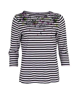 558868c85d7a Betty Barclay 3 4 Arm Shirt Rundhals Floral Stretch Ringel schwarz   Amazon.de  Bekleidung