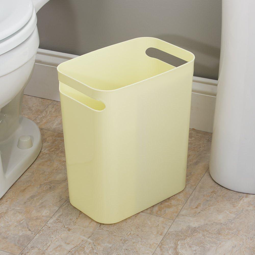 InterDesign Una Papierkorb mit Griffen Abfalleimer aus Kunststoff für Büro tw6