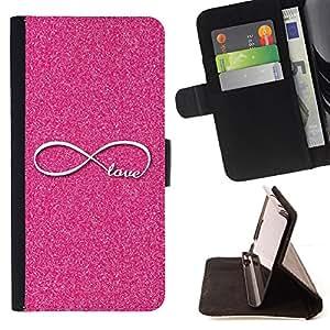 PINK GLITTER INFINITY LOVE INFINITE LOOP/ Personalizada del estilo del dise???¡Ào de la PU Caso de encargo del cuero del tir????n del soporte d - Cao - For Sony Xperia Z3 D6603