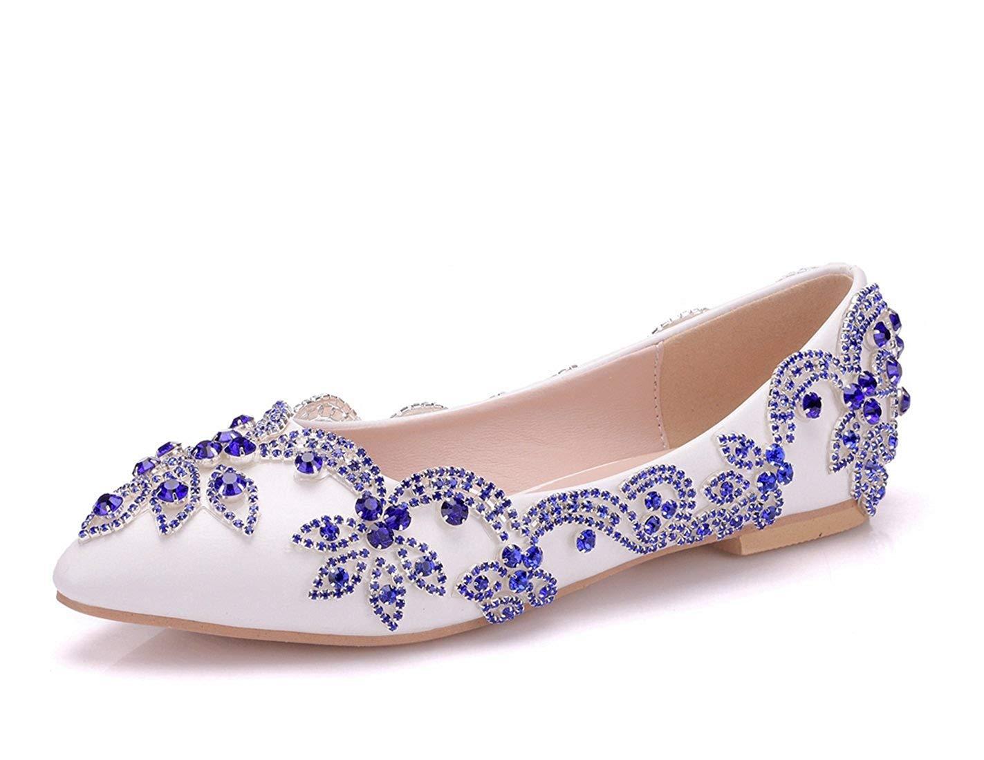Qiusa Frauen Applique Handmade Elfenbein B25Satin Hochzeit Wohnungen UK 5 (Farbe   - Größe   -)