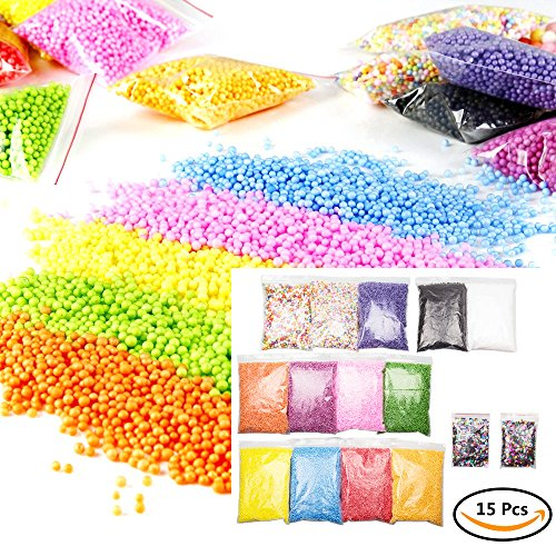 15pcs Foam Beads, ABUFF 15 Packs Colorful Foam Balls Star and Moon Shaped Confetti for Slime Styrofoam Balls for DIY Wedding Party Decorations, 2.5-3.5/7-9mm, Multiple Colors