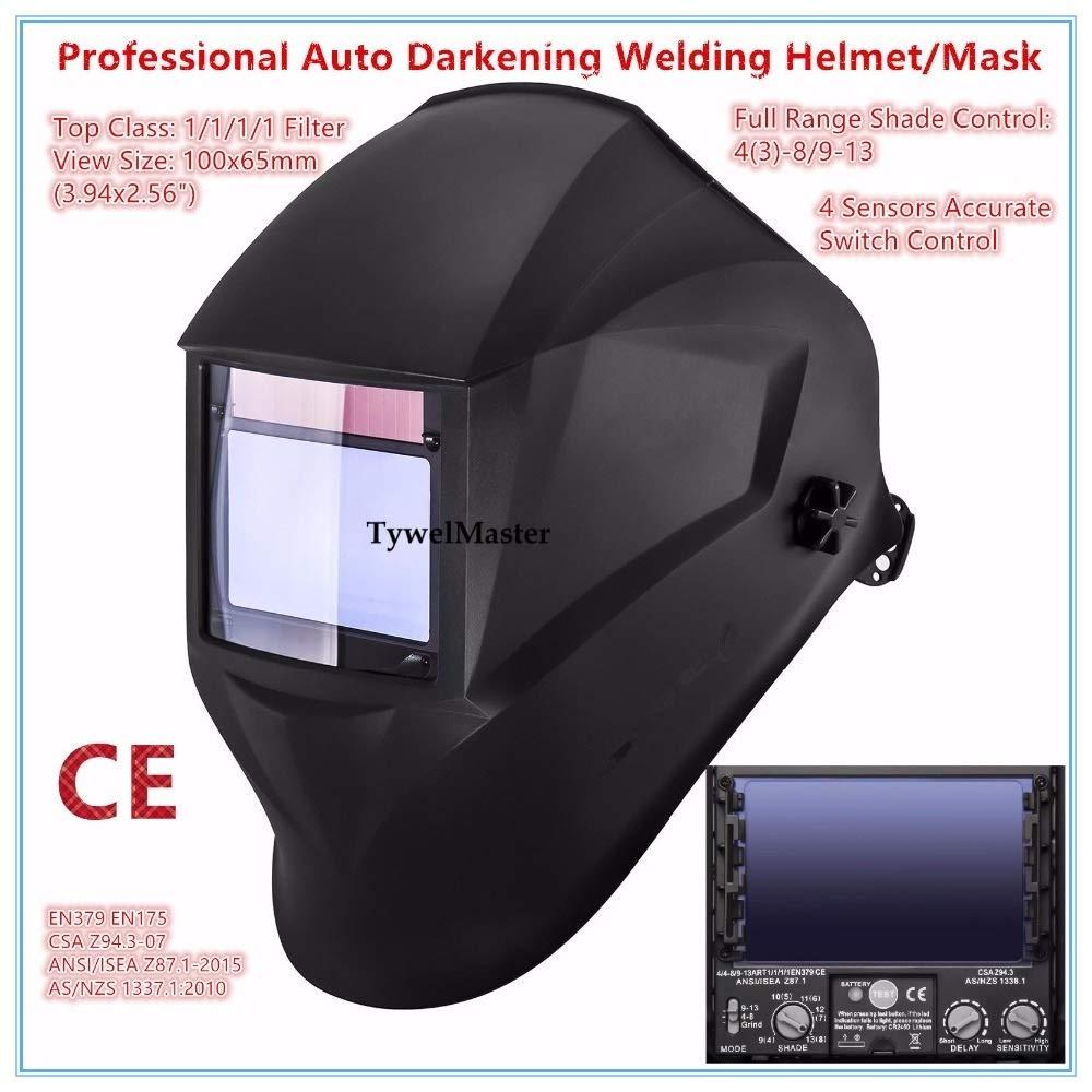 YUANYUAN521 Welding Helmet Premium Mask 10065mm 1111 4 Sensors Filter Welder Hat Cap Solar Auto Darkening MIG TIG Grinding 3-13 CE UL CSA by YUANYUAN521