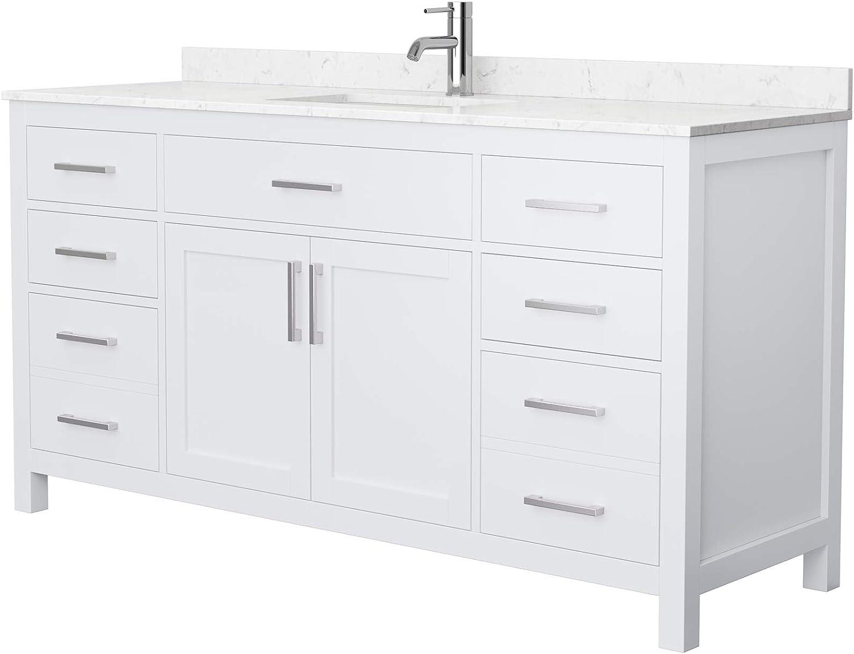 Beckett 66 Inch Single Bathroom Vanity In White Carrara Cultured Marble Countertop Undermount Square Sink No Mirror Amazon Com