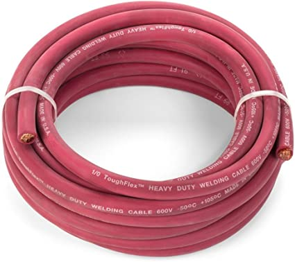 Ewcs 1 0 Awg Premium Extra Flexible Welding Cable 600 Volt Red 25 Feet Spec Made In The Usa Amazon Com