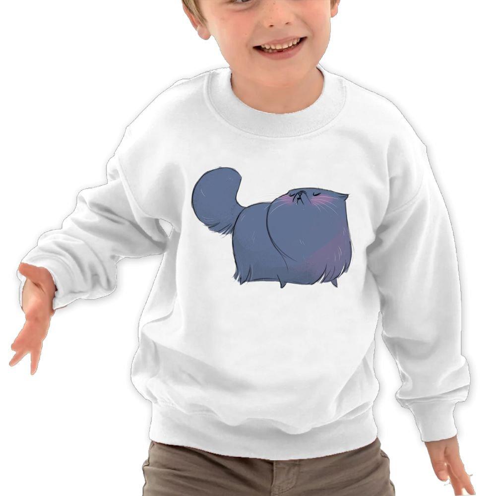 Anutknow Blue Fat Cat Pattern Childrens Round Neck Soft Hoodies Sweatshirt