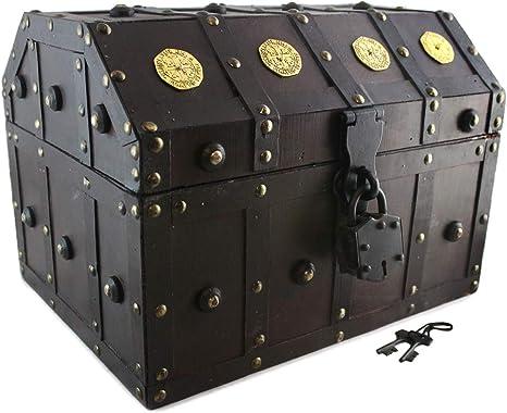 Caja de tesoros con cerradura de pirata, llaves de esqueleto, detalles de Doubloon en manchas de cerezo antiguo, Rojo, Large: Amazon.es: Hogar